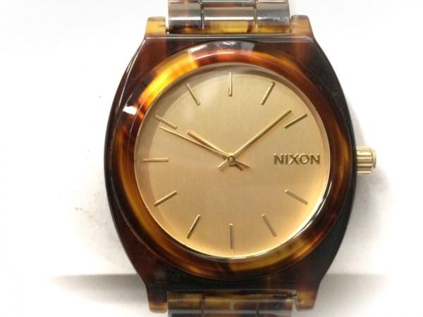NIXON(ニクソン) 腕時計美品  THE TIME TELLER ACETATE A3271424 ボーイズ ゴールド