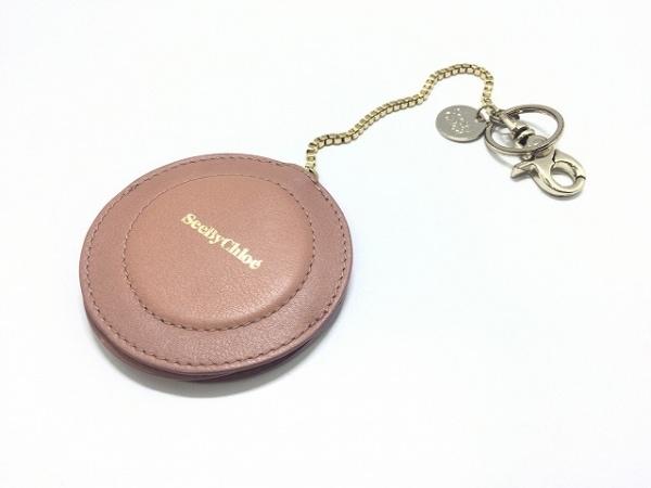 シーバイクロエ キーホルダー(チャーム) ピンク×クリア ミラー付き レザー×ガラス
