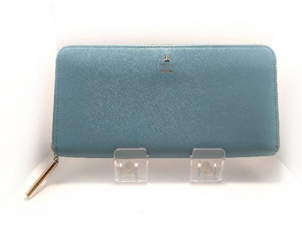 LANVIN en Bleu(ランバンオンブルー) 長財布 ライトブルー ラウンドファスナー レザー