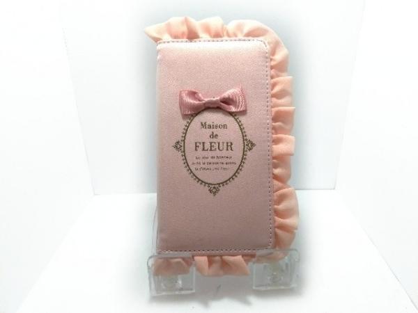 メゾンドフルール 携帯電話ケース美品  ピンク リボン/フリル ナイロン