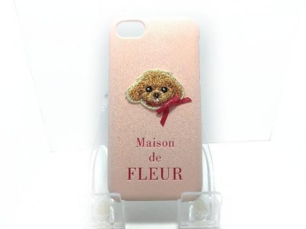 メゾンドフルール 携帯電話ケース ピンク×ブラウン リボン プラスチック×ウール