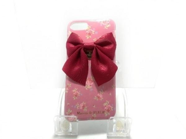 メゾンドフルール 携帯電話ケース ピンク×ボルドー×グリーン×マルチ 花柄/リボン