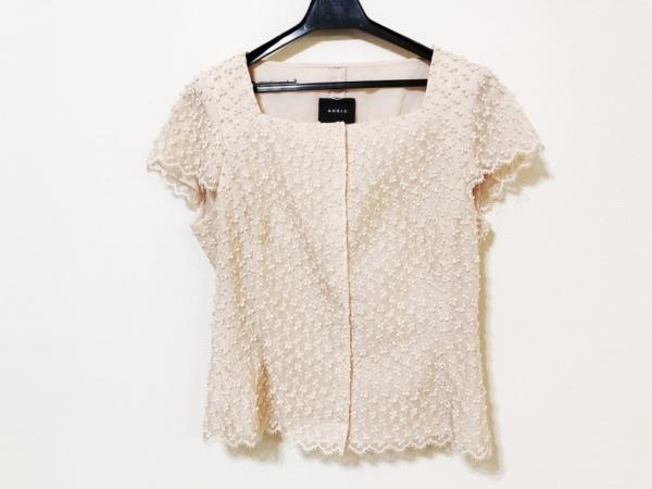 アクリス ジャケット サイズ6 M レディース ピンクベージュ 肩パッド/刺繍/半袖