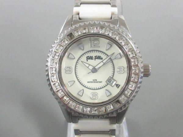 FolliFollie(フォリフォリ) 腕時計 WF5T138BD レディース ラインストーンベゼル 白