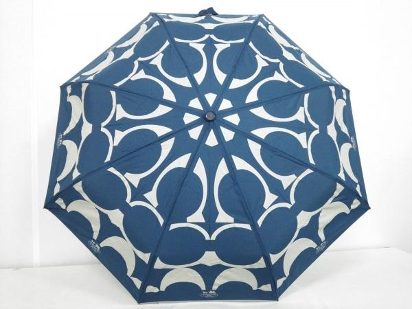 COACH(コーチ) 折りたたみ傘 ネイビー×ライトグレー 化学繊維