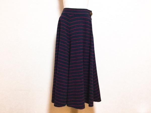 シャルルアナスタス ロングスカート サイズM レディース美品  ダークネイビー×レッド