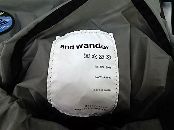 and wander(アンドワンダー) リュックサック グレー×カーキ ナイロン