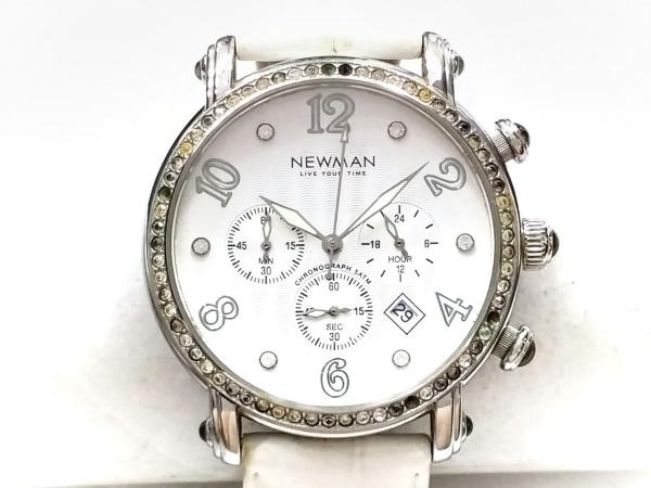 ニューマン 腕時計 - レディース 革ベルト/ラインストーンベゼル/クロノグラフ 白