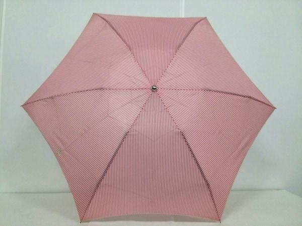 RalphLauren(ラルフローレン) 折りたたみ傘 ピンク×白 ストライプ ポリエステル