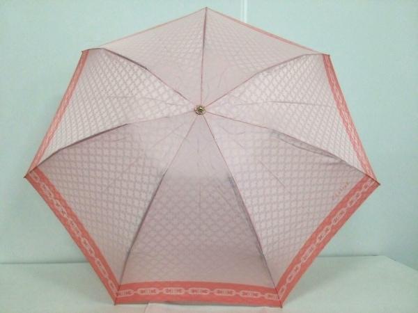 CELINE(セリーヌ) 折りたたみ傘美品  マカダム柄 ピンク×ベージュ ポリエステル