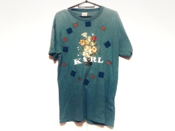 KarlHelmut(カールヘルム) 半袖Tシャツ メンズ グリーン×マルチ