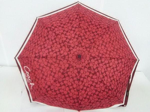 COACH(コーチ) 折りたたみ傘 シグネチャー柄 F60588 レッド×ボルドー×アイボリー