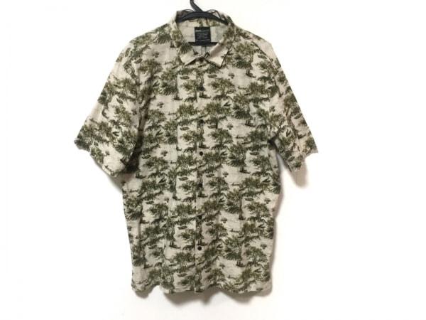 バックチャンネル 半袖シャツ サイズXL メンズ美品  アイボリー×カーキ 草木