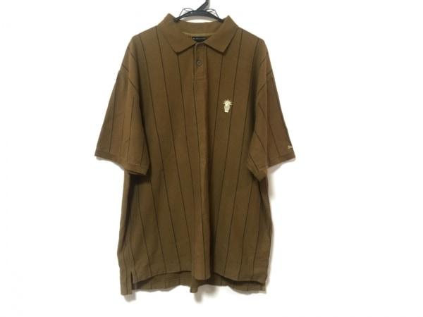 バックチャンネル 半袖ポロシャツ サイズXL メンズ美品  ブラウン×黒 ストライプ