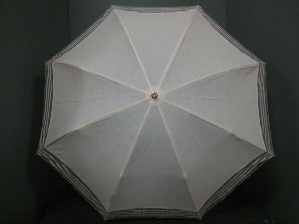 バーバリー 折りたたみ傘美品  ピンク チェック柄 コットン×麻×ポリエステル