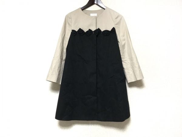 ボンメルスリー コート サイズ38 M レディース 黒×ベージュ リボン/春・秋物