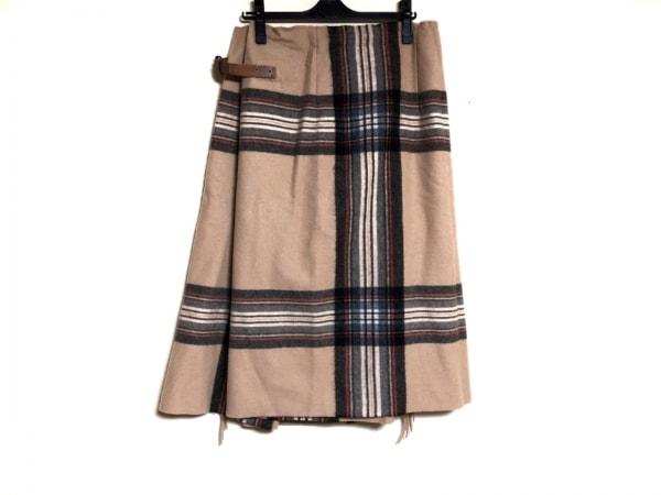 ギャレゴデスポート 巻きスカート サイズS レディース ベージュ×黒×レッド