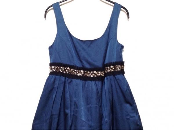 ジルスチュアート ドレス サイズ4 S レディース ネイビー×黒×クリア ビジュー