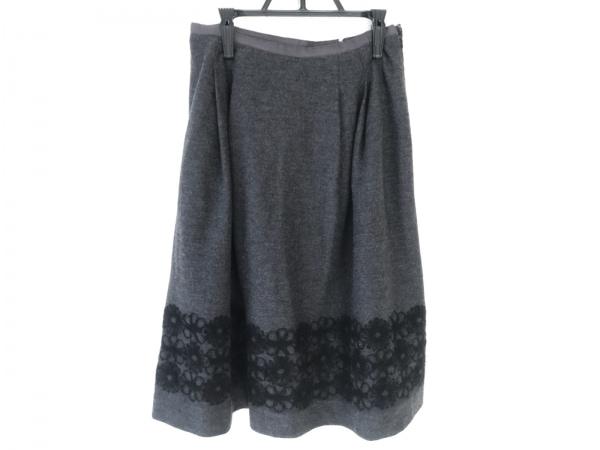 フランコフェラーロ スカート サイズ2 M レディース美品  ダークグレー 刺繍/花柄