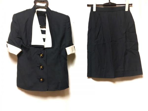 MAGGY(ギンザマギー) スカートスーツ サイズ9 M レディース ネイビー×白 肩パッド