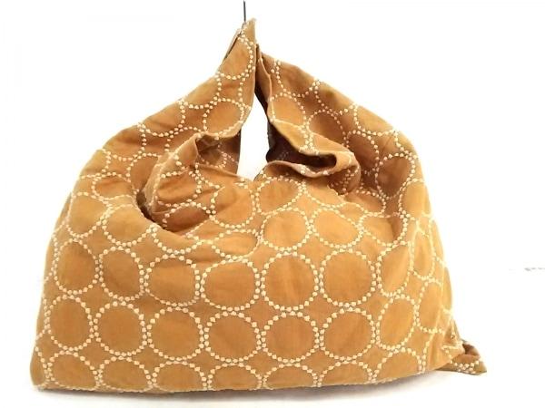 ミナペルホネン ショルダーバッグ オレンジブラウン×ベージュ 刺繍 コットン
