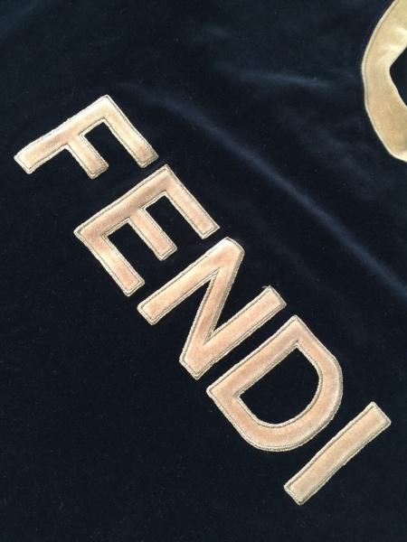 フェンディ 長袖カットソー サイズ38 S レディース美品  黒×ライトブラウン ベロア