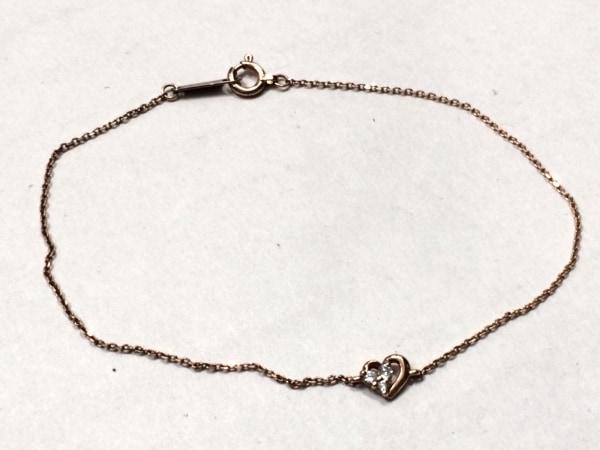 canal4℃(カナルヨンドシー) ブレスレット美品  K10PG×ダイヤモンド 3Pダイヤ/ハート