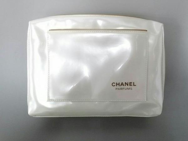 CHANEL PARFUMS(シャネルパフューム) ポーチ美品  白×ゴールド PVC(塩化ビニール)