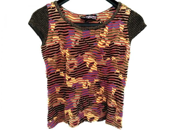 エムアンドキョウコ 半袖Tシャツ サイズ1 S レディース ブラウン×黒×マルチ