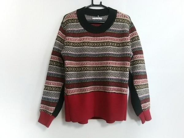 アカネ ウツノミヤ 長袖セーター サイズ36 S レディース美品  レッド×黒×マルチ