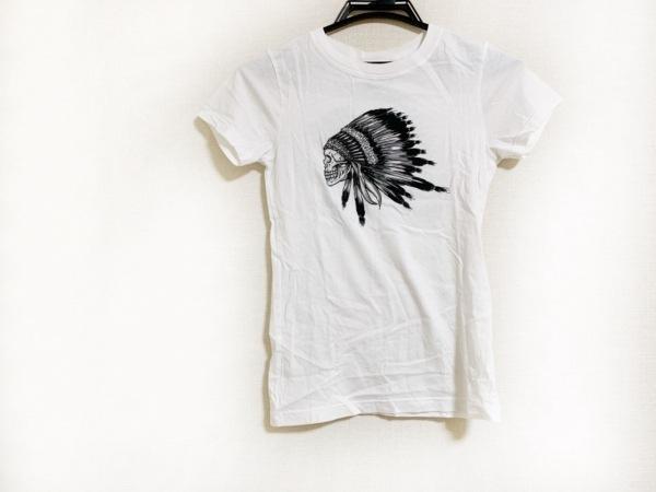 アナザーヘブン 半袖Tシャツ サイズS レディース 白×黒×ライトグレー スカル