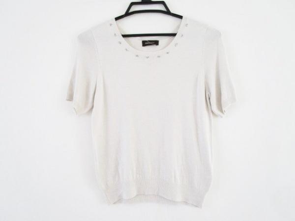 ジャスグリッティー 半袖セーター サイズ2 M レディース ライトグレー ビーズ