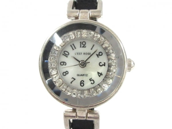 L'EST ROSE(レストローズ) 腕時計 - レディース 革ベルト/シェル文字盤 白
