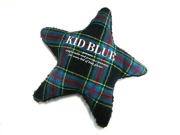 キッドブルー 小物美品  黒×ブルー×マルチ クッション/スター/チェック柄 化学繊維