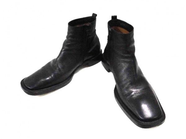 コスチュームナショナルオム ショートブーツ 8 1/2 メンズ 黒 レザー
