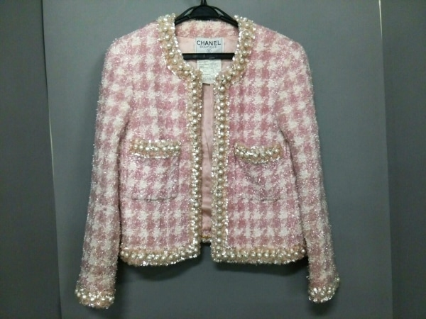 CHANEL(シャネル) ジャケット サイズ39 レディース ピンク×白×マルチ