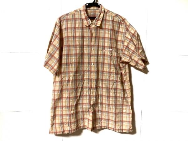 Papas(パパス) 半袖シャツ サイズM メンズ ベージュ×オレンジ×マルチ チェック柄