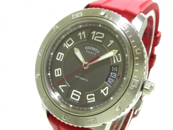 エルメス 腕時計 クリッパー スポーツオート TGM CP2.741 メンズ SS/ラバーベルト