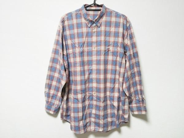 Papas(パパス) 長袖シャツ サイズL メンズ ベージュ×レッド×ブルー チェック柄