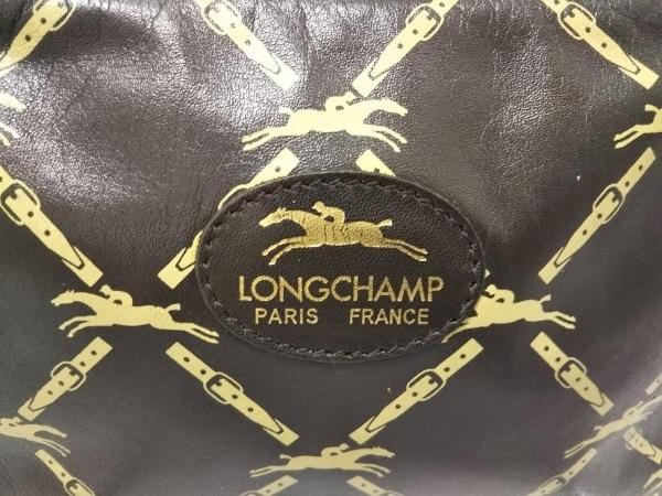 LONGCHAMP(ロンシャン) ショルダーバッグ美品  ダークブラウン×ベージュ レザー