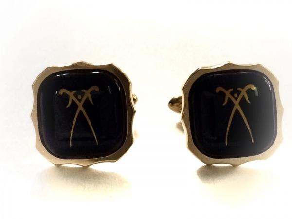 Meissen(マイセン) カフス美品  金属素材×ガラス ネイビー×ゴールド