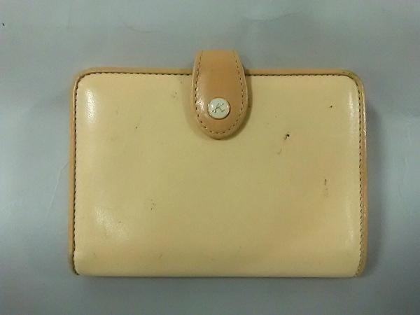 KITAMURA(キタムラ) 2つ折り財布美品  ベージュ×ライトブラウン がま口 レザー