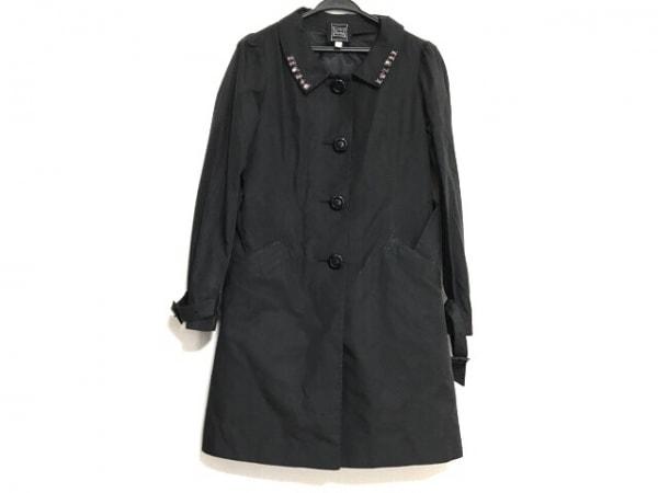 シンシアローリー コート サイズ2 S レディース美品  黒×ピンク ビジュー/冬物