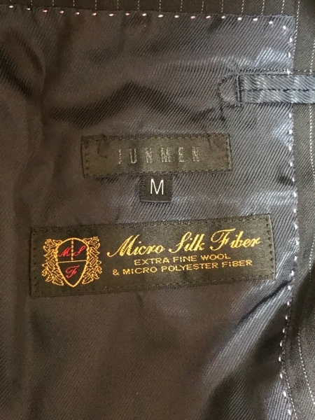 JUN MEN(ジュンメン) シングルスーツ サイズM メンズ ダークネイビー×白 ストライプ
