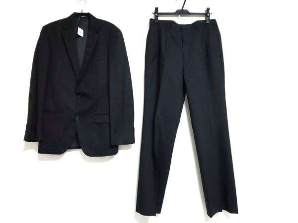 COMME CA ISM(コムサイズム) シングルスーツ サイズXL メンズ 黒 ストライプ