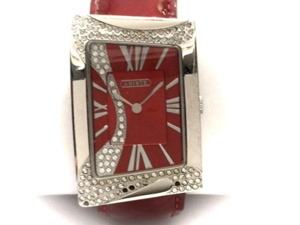 ABISTE(アビステ) 腕時計 - レディース ラインストーンベゼル/革ベルト レッド