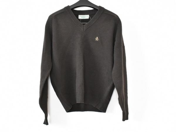 マンシングウェア 長袖セーター サイズM メンズ美品  ダークブラウン Vネック