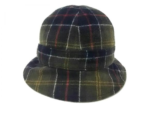 バーブァー 帽子 M美品  カーキ×イエロー×マルチ チェック柄 ウール×ナイロン