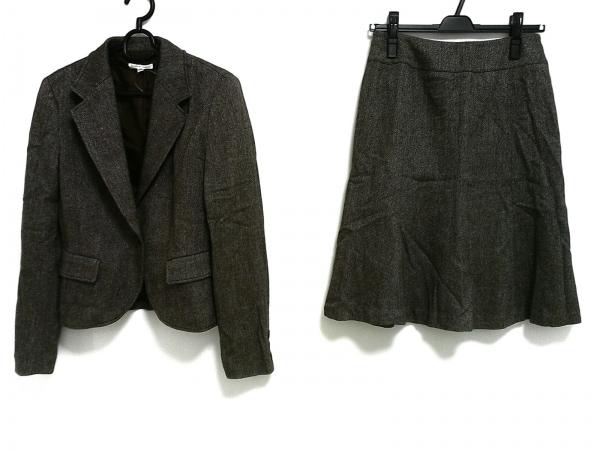 バーゼエヌオボ スカートスーツ レディース美品  ダークブラウン×白 肩パッド