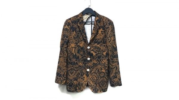 パーリーゲイツ ジャケット サイズ4 XL メンズ美品  ライトブラウン×黒 花柄